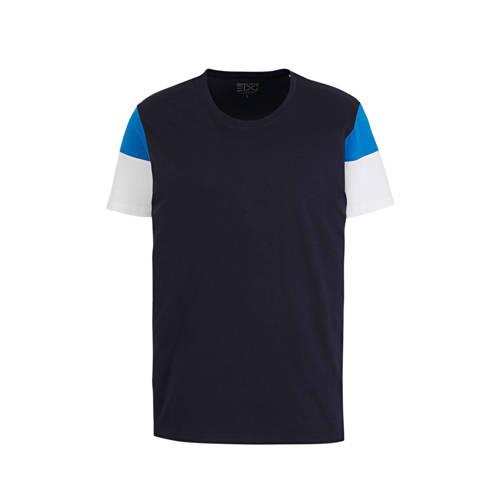 edc Men T-shirt van biologisch katoen donkerblauw/