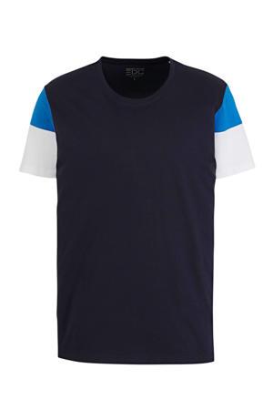 T-shirt van biologisch katoen donkerblauw/geel/wit