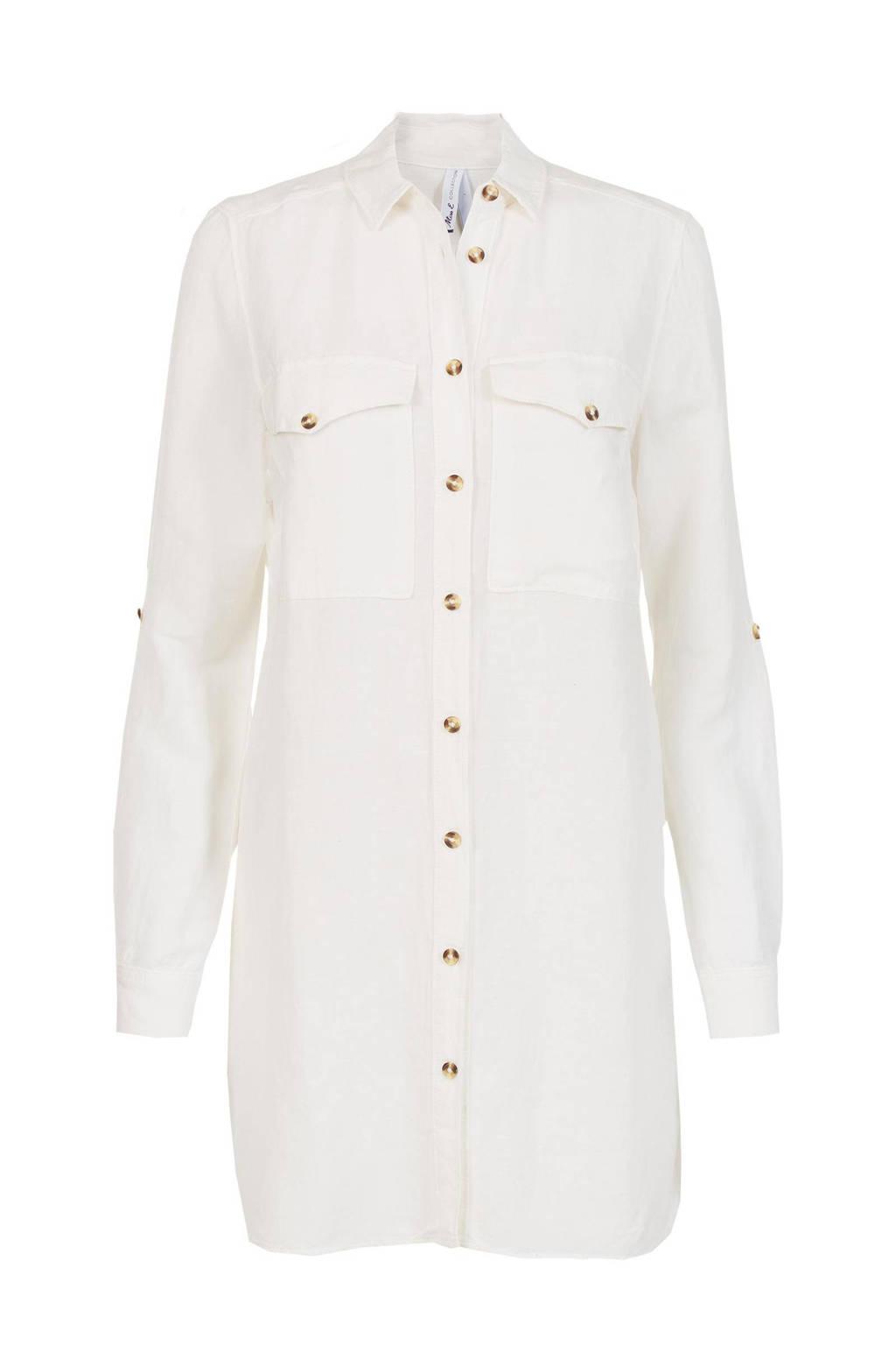 Miss Etam Regulier blouse met linnen wit, Wit