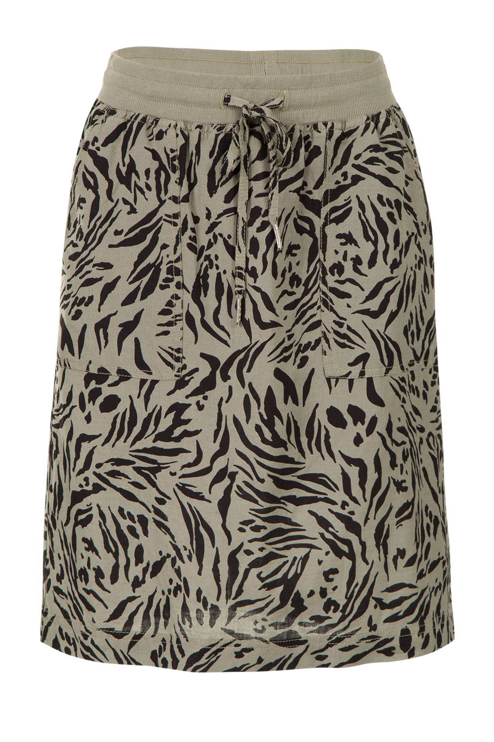 rok met linnen en zebraprint groenzwart