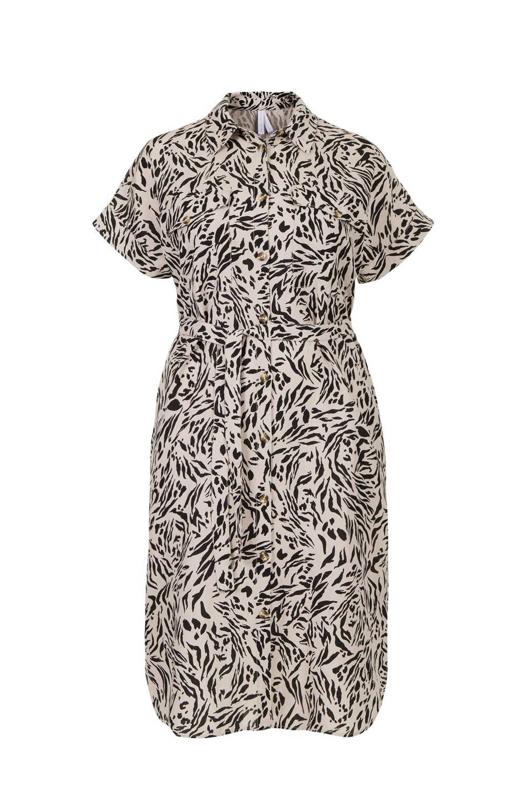 Miss Etam Plus blousejurk met linnen en all over print zand/zwart, Zand/zwart