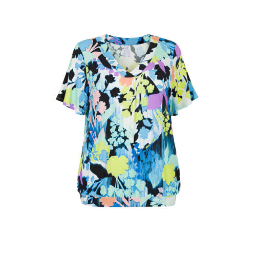 Miss Etam Plus top met all over print blauw/geel
