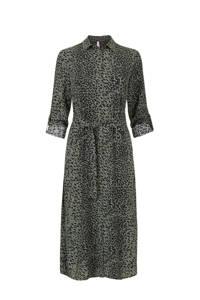 Miss Etam Regulier blousejurk met all over print en ceintuur groen/zwart, Groen/zwart