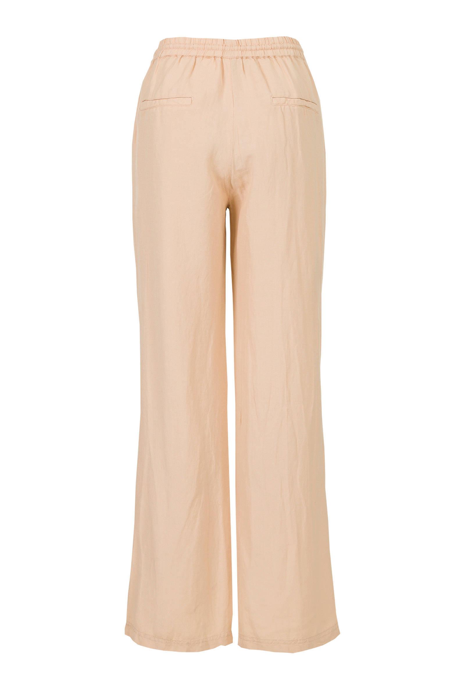 high waist loose fit broek zand