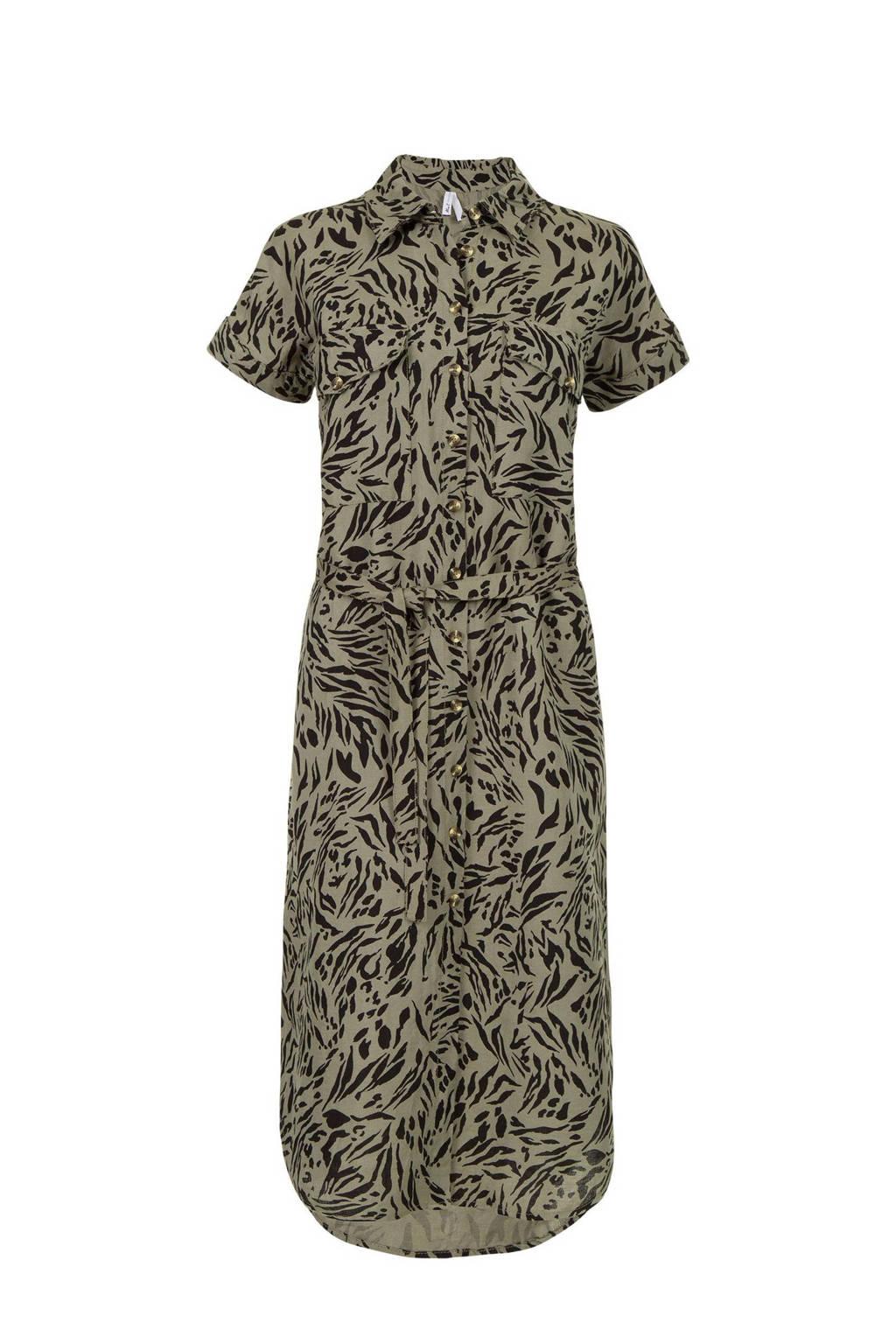 Miss Etam Regulier blousejurk met linnen en all over print groen/zwart, Groen/zwart
