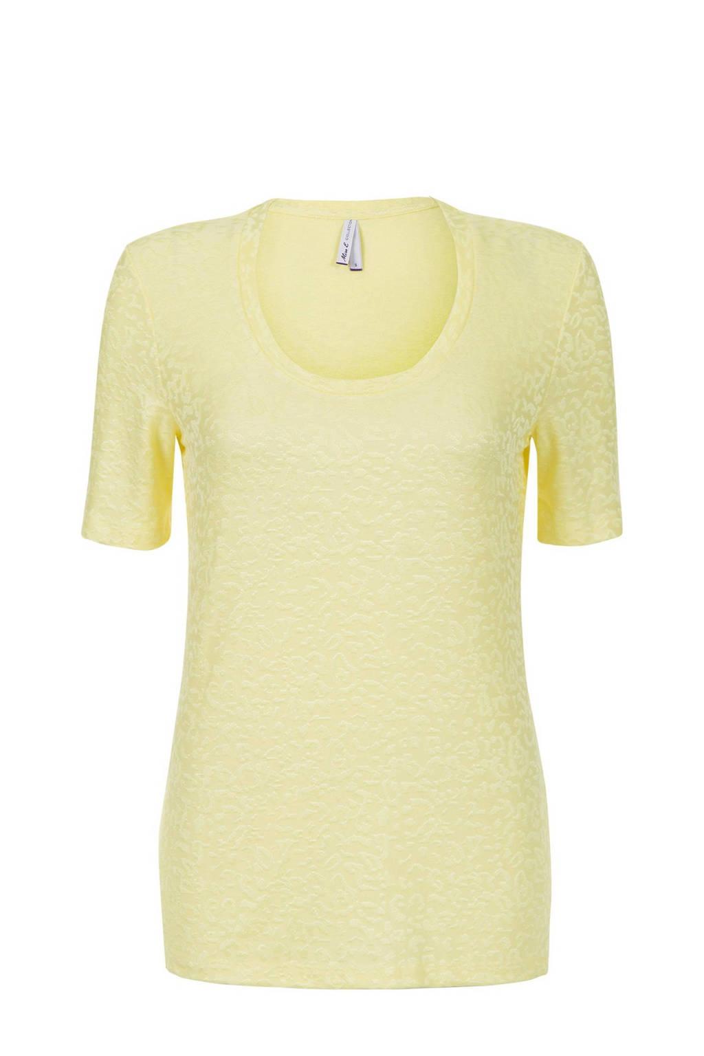 Miss Etam Regulier T-shirt met jacquard geel, Geel