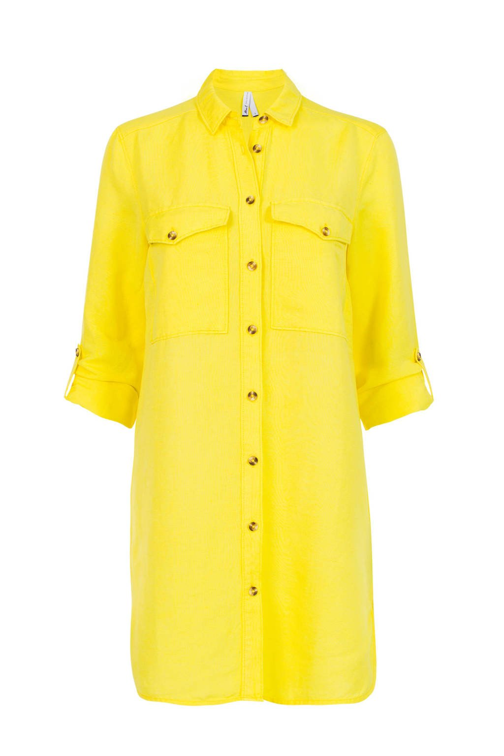 Miss Etam Regulier blouse met linnen geel, Geel