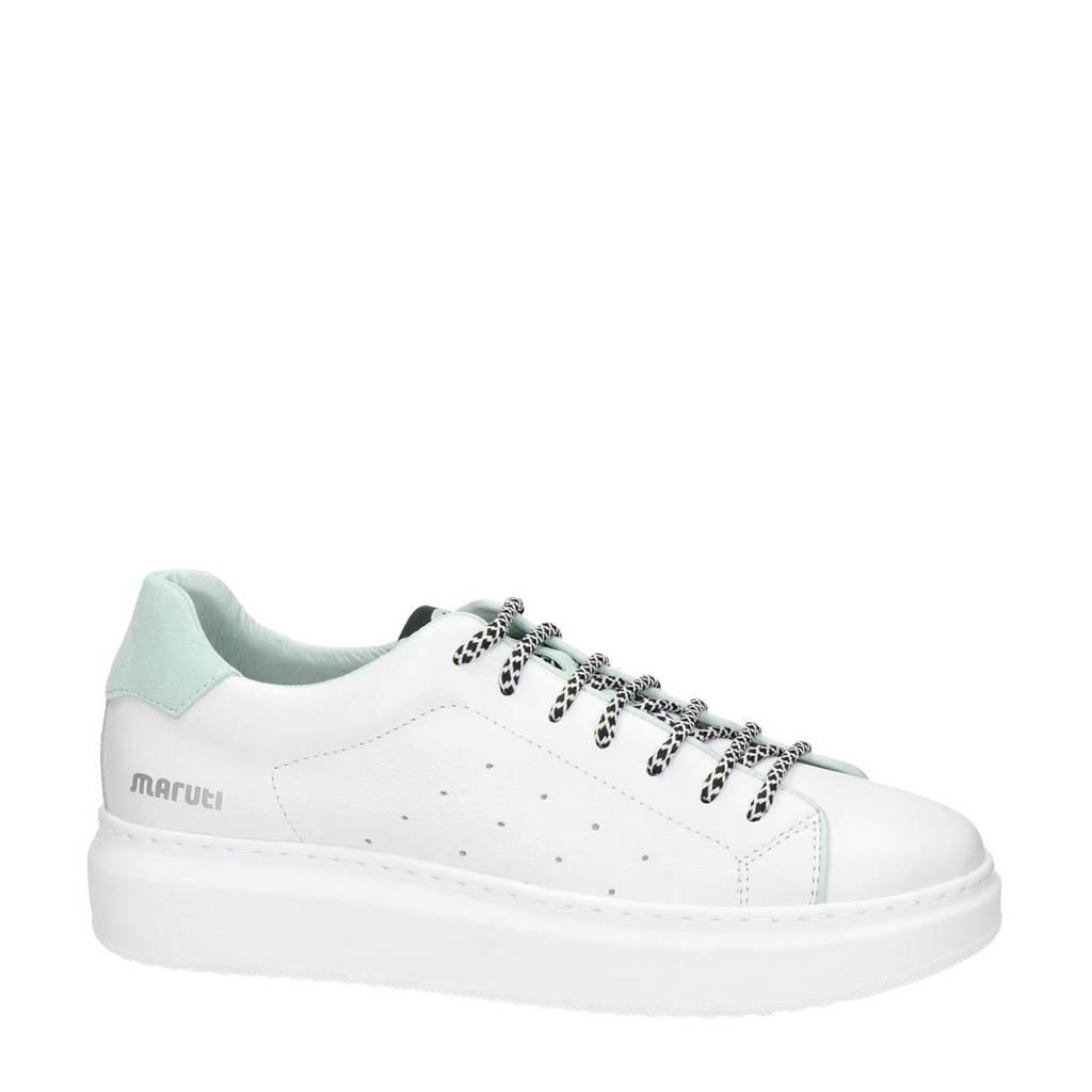 Maruti Cailin  leren sneakers wit/mintgroen, Wit/mintgroen