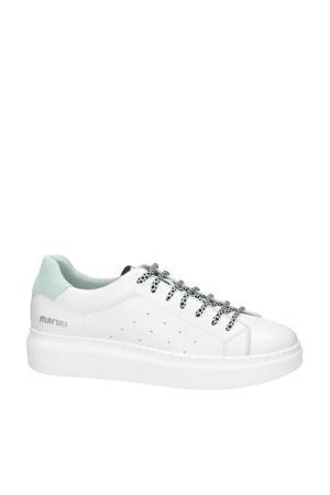 Cailin  leren sneakers wit/mintgroen