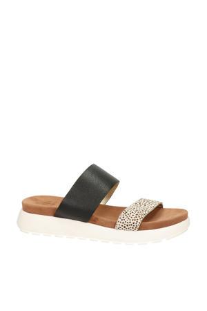 Alexis  leren slippers zwart/cheetahprint