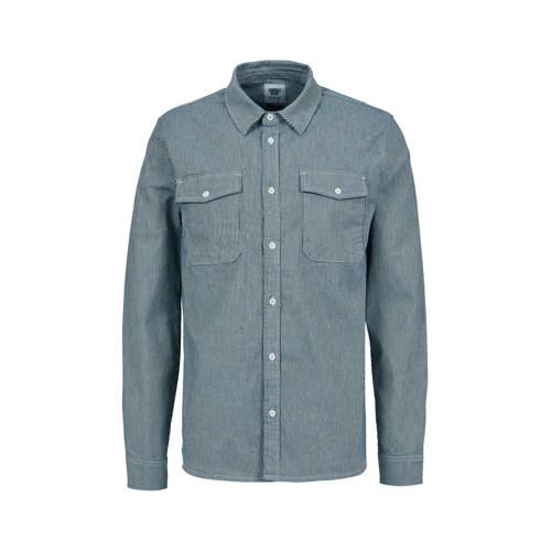 America Today gestreept slim fit overhemd dark blu