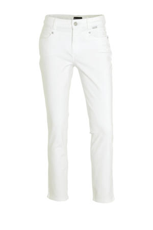cropped straight fit broek wit