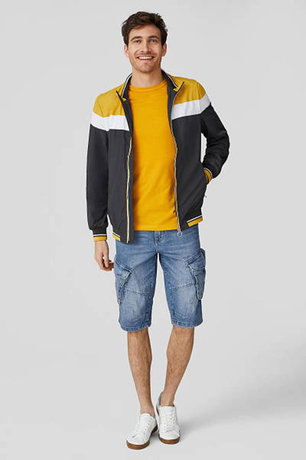 C&A The Denim regular fit cargo jeans short stonewashed, Blauw