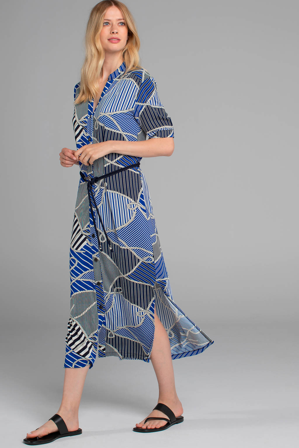 Claudia Sträter blousejurk met all over print en ceintuur blauw, Blauw