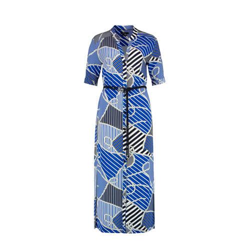 Claudia Sträter blousejurk met all over print en ceintuur blauw