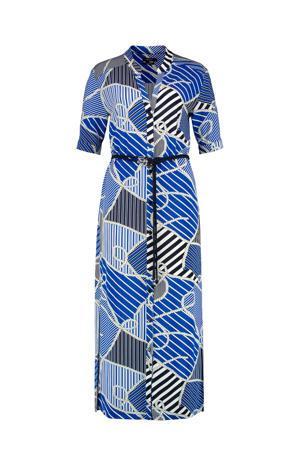 blousejurk met all over print en ceintuur blauw