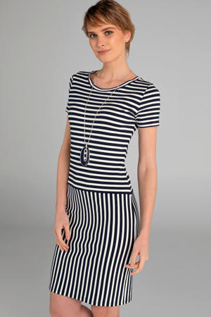 gestreepte jersey jurk marine/wit