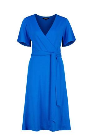 jersey jurk en ceintuur blauw