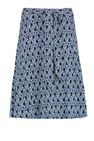 rok met all over print en ceintuur blauw