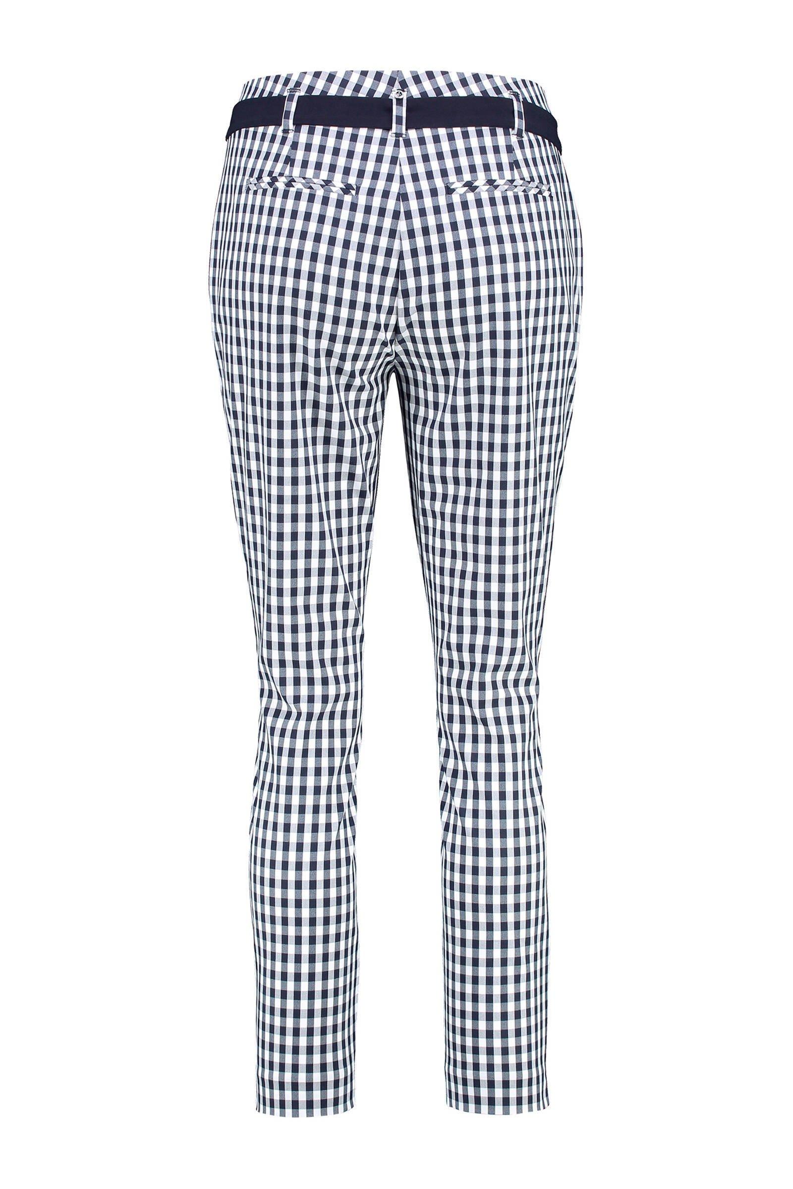 geruite slim fit pantalon blauwwit