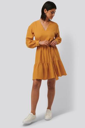 jurk met volant mustard