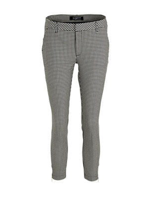 regular fit chino Sandy met pied-de-poule zwart/wit