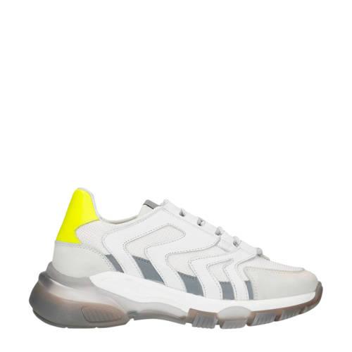 Sacha leren chunky sneakers off white/neon geel