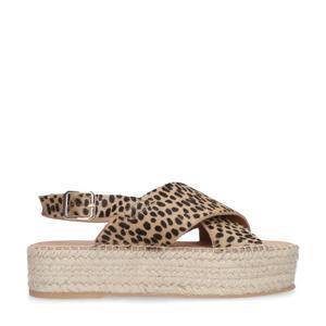 suède plateau sandalen cheetahprint