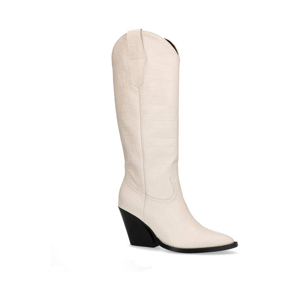 Sacha   leren cowboylaarzen crocoprint latte, Off white/Latte