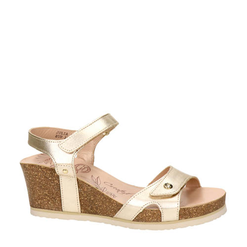 Panama Jack Julia Shine leren sandalettes goud