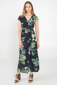 Cassis maxi jurk met all over print en ceintuur blauw/groen, Blauw/groen