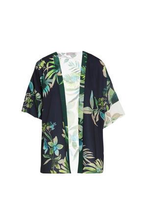kimono met all over print donkerblauw/groen