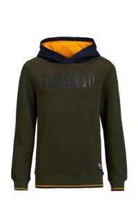 WE Fashion hoodie met tekst donkergroen/donkerblauw/oranje, Donkergroen/donkerblauw/oranje