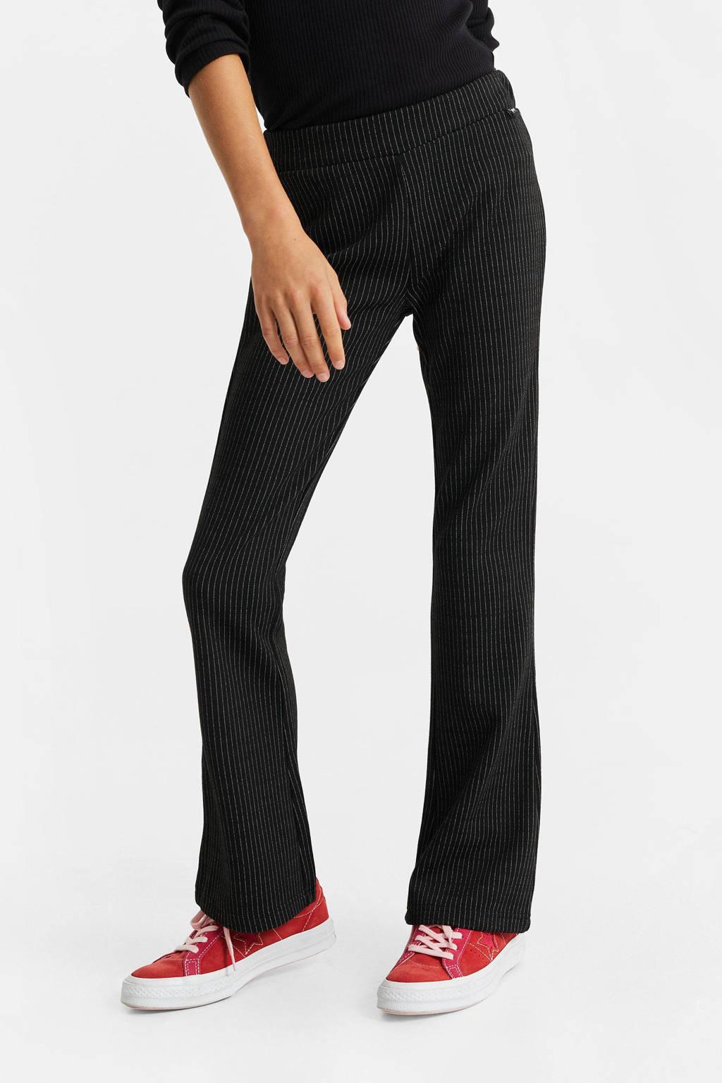 WE Fashion gestreepte flared broek zwart, Zwart