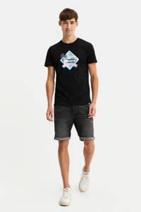 WE Fashion T-shirt met printopdruk zwart, Zwart
