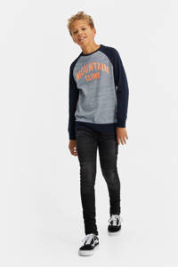 WE Fashion longsleeve met tekst donkerblauw/oranje, Donkerblauw/oranje