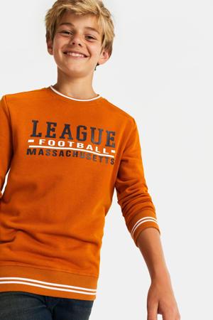 sweater met tekst oranje/zwart/wit