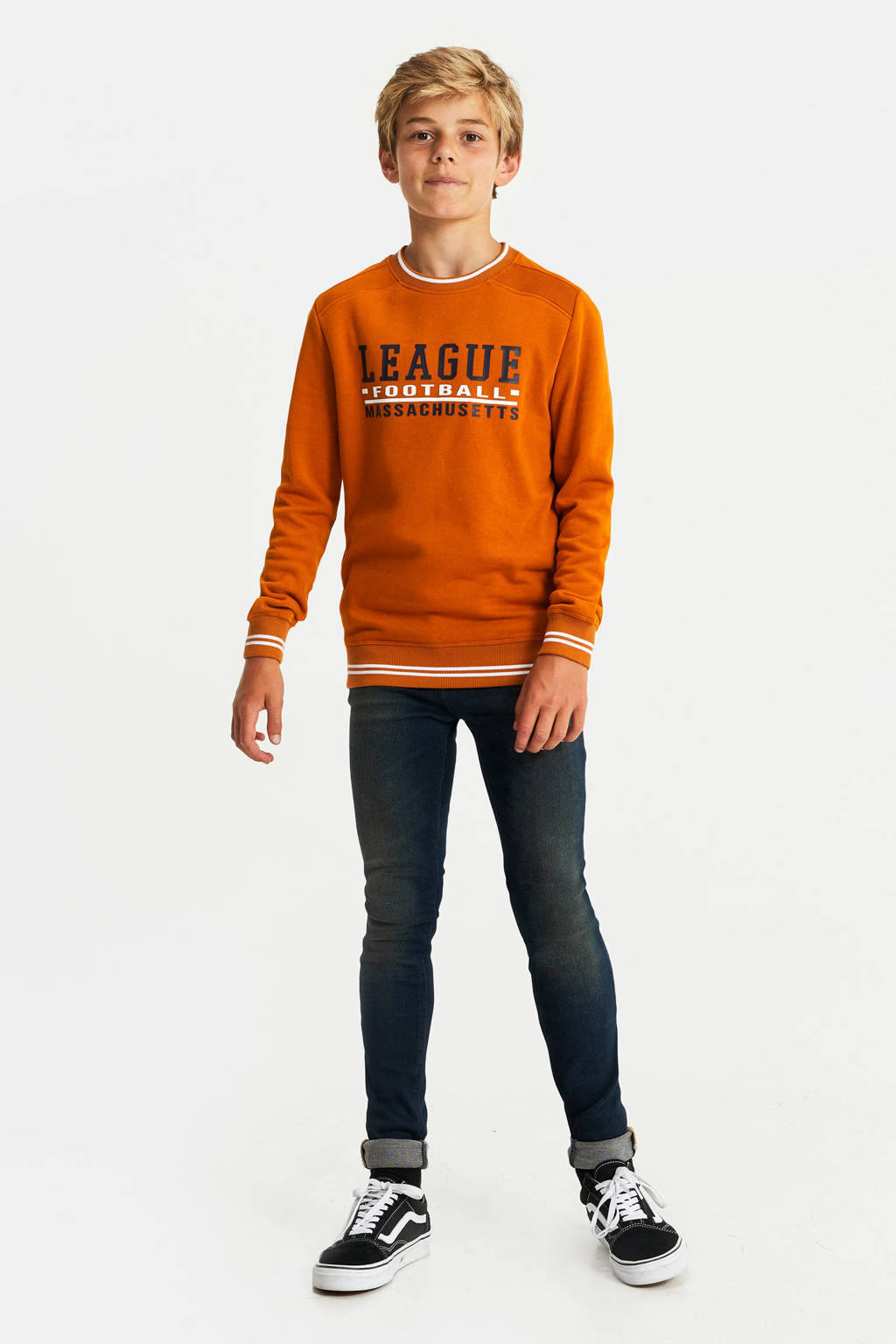 WE Fashion sweater met tekst oranje/zwart/wit, Oranje/zwart/wit