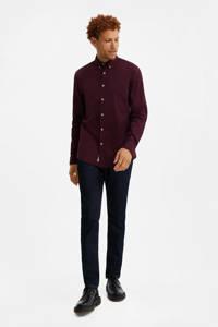 WE Fashion slim fit overhemd donkerrood, Donkerrood