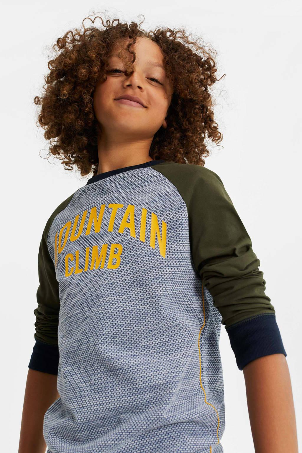 WE Fashion longsleeve met tekst olijfgroen/blauw/geel, Olijfgroen/blauw/geel