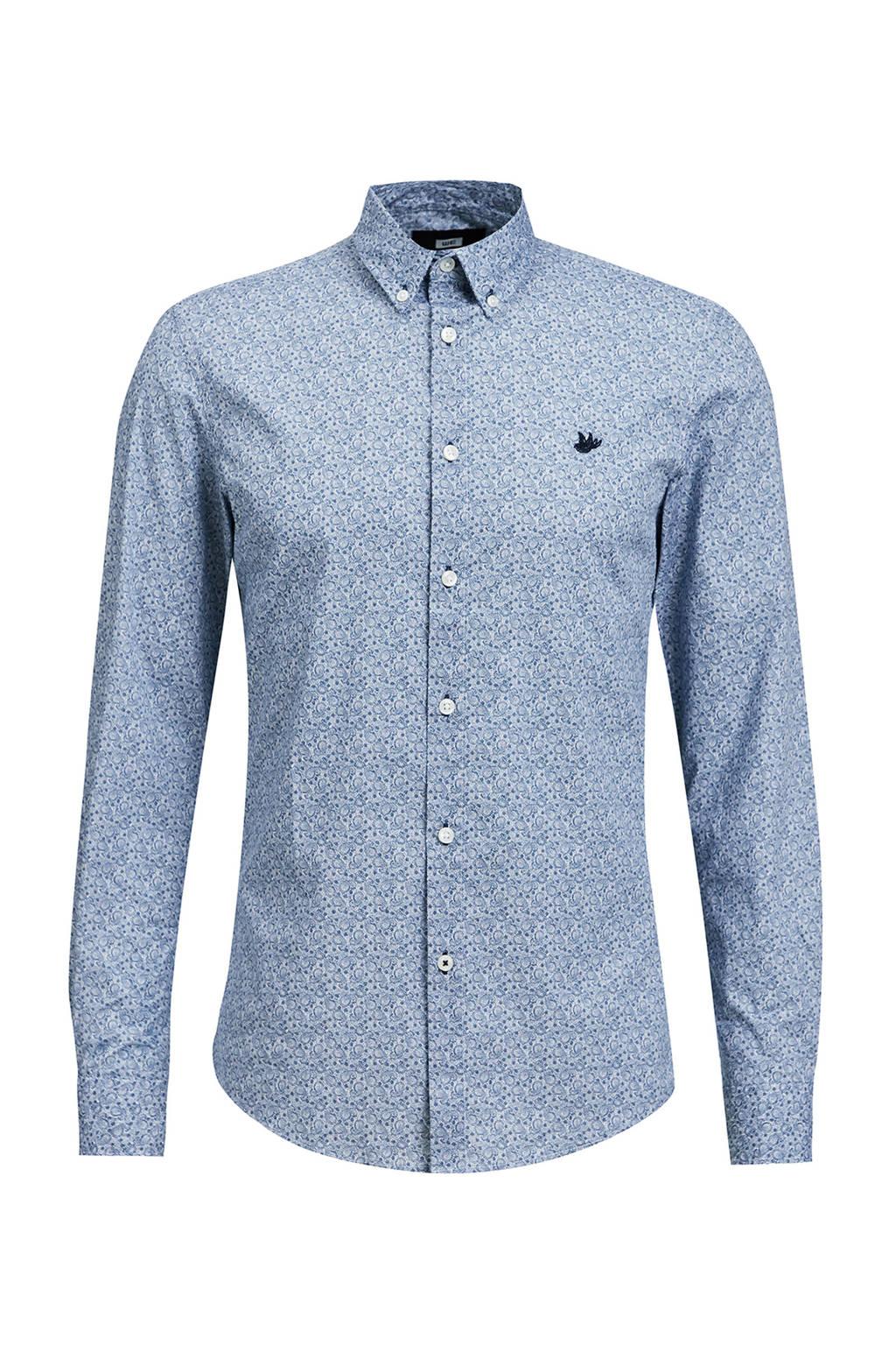 WE Fashion regular fit overhemd met all over print royal navy, Royal Navy