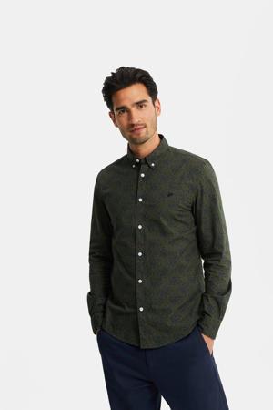 slim fit overhemd met all over print donkergroen