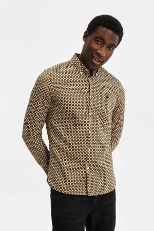 slim fit overhemd met all over print oranje