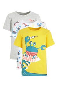 C&A Palomino T-shirt - set van 3 geel/grijs/wit, Geel/grijs/wit