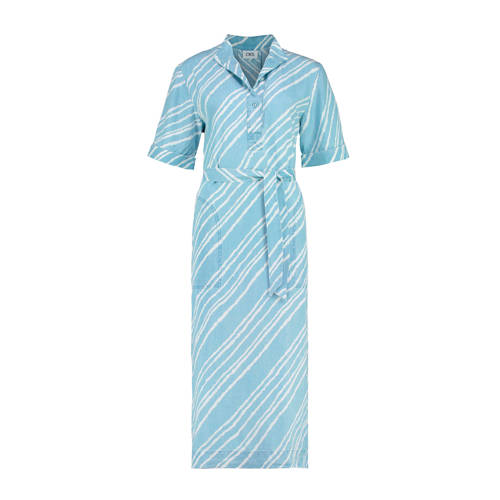 CKS jurk met all over print en ceintuur blauw/wit