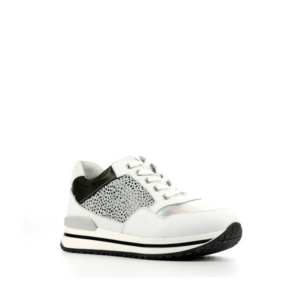 Develab 42578  leren sneakers wit/zwart, Wit/Zwart/Zilver