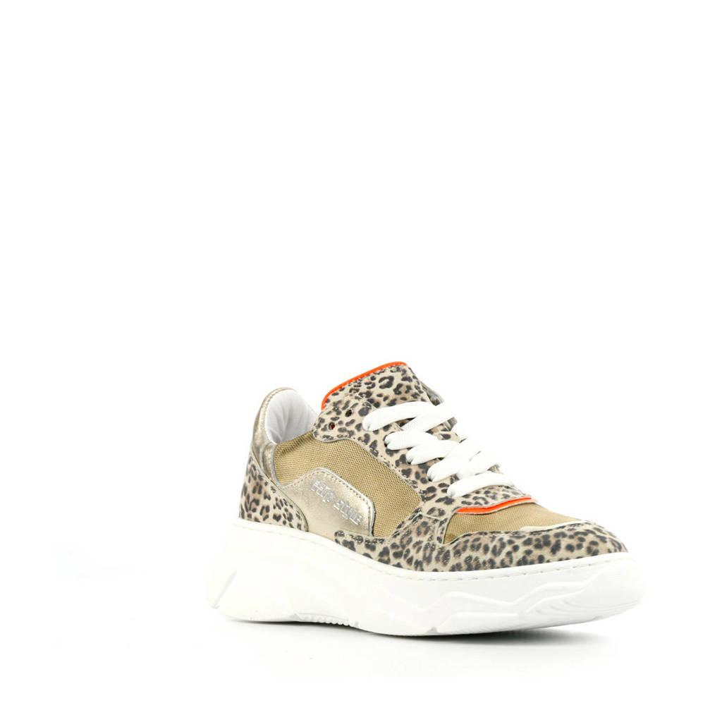 Hip H1266  leren dad sneakers goud/panterprint, Goud/bruin