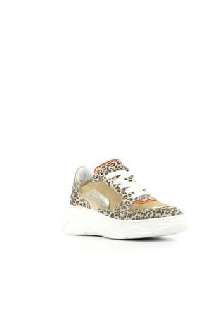 H1266  leren dad sneakers goud/panterprint