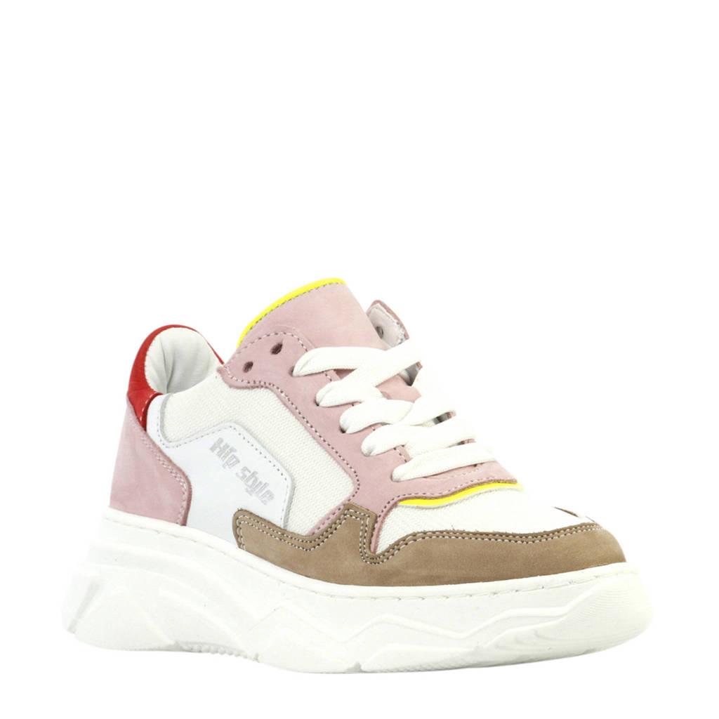 Hip H1266  nubuck dad sneakers roze/multi, Wit/multi