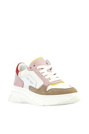 H1266  nubuck dad sneakers roze/multi
